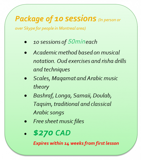 Oud lessons in Montreal - Package 10