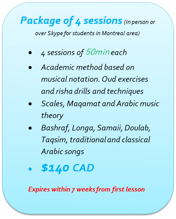 Oud lessons in Montreal - Package of 4 lessons