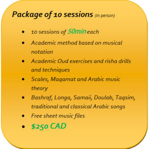 Package of 10 Oud lessons in Montreal